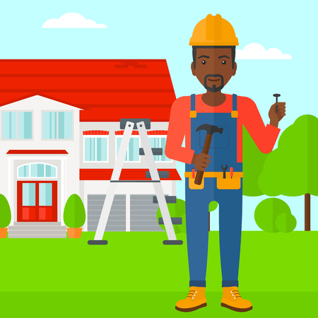 An african-american man in helmet with a hummer and a nail in hands standing on a house background vector flat design illustration. Square layout.