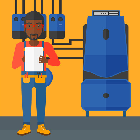 boiler room: An african-american man making some notes in his tablet on a background of domestic household boiler room with heating system and pipes vector flat design illustration. Square layout. Illustration