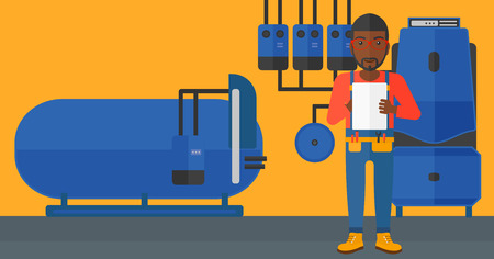 boiler room: An african-american man making some notes in his tablet on a background of domestic household boiler room with heating system and pipes vector flat design illustration. Horizontal layout.
