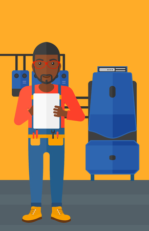 boiler room: An african-american man making some notes in his tablet on a background of domestic household boiler room with heating system and pipes vector flat design illustration. Vertical layout.