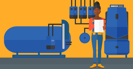 An african-american woman making some notes in her tablet on a background of domestic household boiler room with heating system and pipes vector flat design illustration. Horizontal layout.
