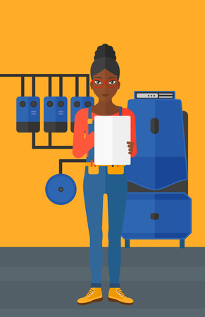 An african-american woman making some notes in her tablet on a background of domestic household boiler room with heating system and pipes vector flat design illustration. Vertical layout.