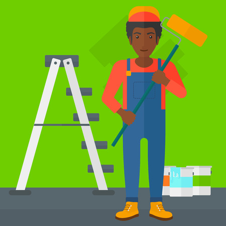 paint cans: An african-american man standing with a paint roller  on a background of room with paint cans and ladder vector flat design illustration. Square layout.