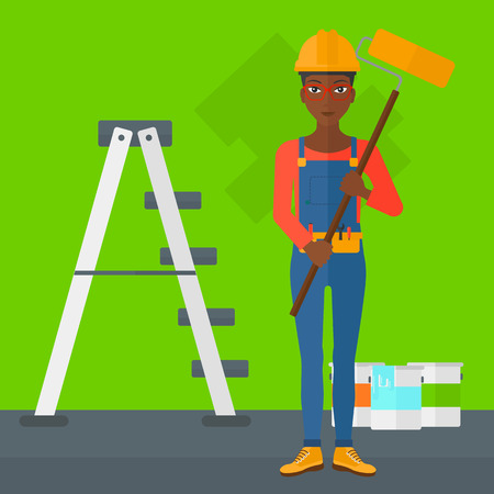 paint cans: An african-american woman standing with a paint roller  on a background of room with paint cans and ladder vector flat design illustration. Square layout.