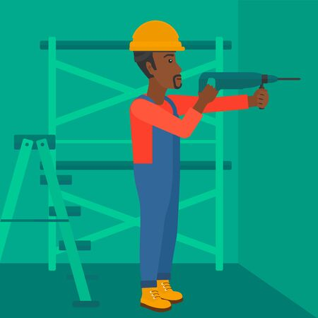 An african-american man drilling a hole in the wall using a perforator vector flat design illustration. Square layout. Иллюстрация