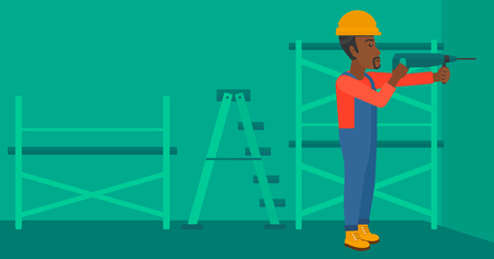 An african-american man drilling a hole in the wall using a perforator vector flat design illustration. Horizontal layout. Иллюстрация