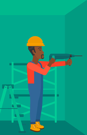 An african-american man drilling a hole in the wall using a perforator vector flat design illustration. Vertical layout.