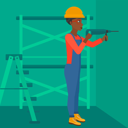 An african-american woman drilling a hole in the wall using a perforator vector flat design illustration. Square layout.