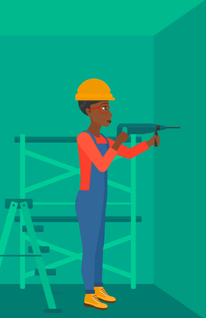 An african-american woman drilling a hole in the wall using a perforator vector flat design illustration. Vertical layout.