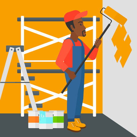 man painting: An african-american man painting walls with a paint roller vector flat design illustration. Square layout. Illustration