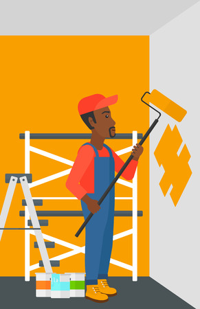 man painting: An african-american man painting walls with a paint roller vector flat design illustration. Vertical layout. Illustration