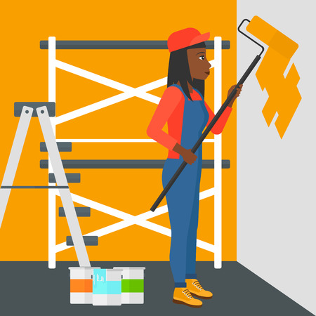 ladder: An african-american woman painting walls with a paint roller vector flat design illustration. Square layout.