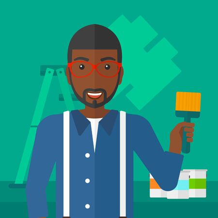 paint cans: An african-american man holding a paint brush on a background of room with paint cans and ladder vector flat design illustration. Square layout. Illustration