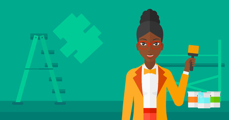 cartoon painter: An african-american woman holding a paint brush on a background of room with paint cans and ladder vector flat design illustration. Horizontal layout.
