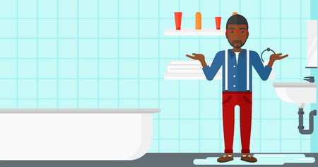desperation: An african-american  man in despair standing near leaking sink in the bathroom vector flat design illustration. Horizontal layout.