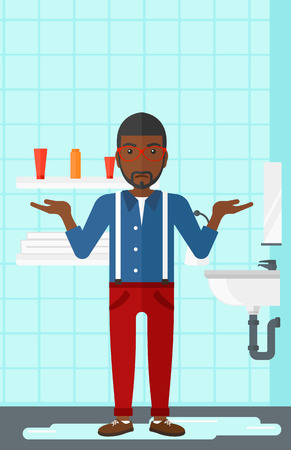 leaking: An african-american  man in despair standing near leaking sink in the bathroom vector flat design illustration. Vertical layout. Illustration