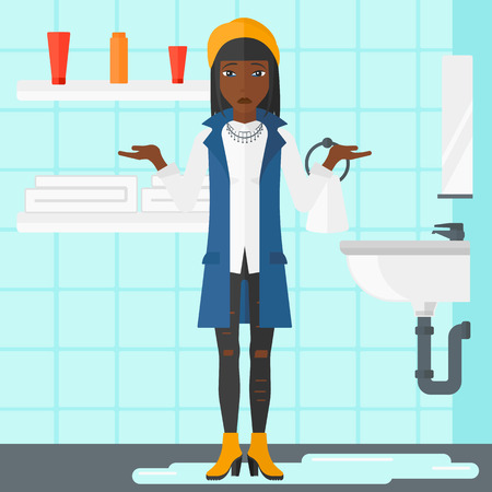 despair: An african-american  woman in despair standing near leaking sink in the bathroom vector flat design illustration. Square layout.