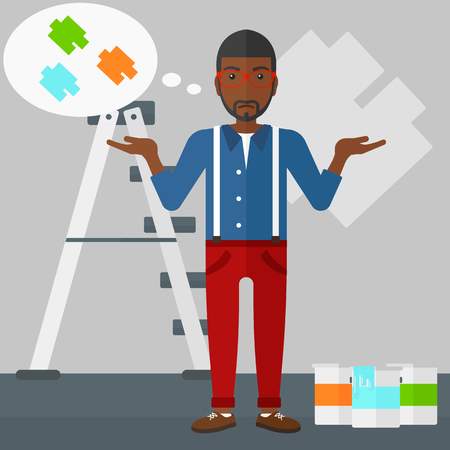 choosing: A doubtful african-american man choosing color for a room on a background of wall with paint samples vector flat design illustration. Square layout. Illustration