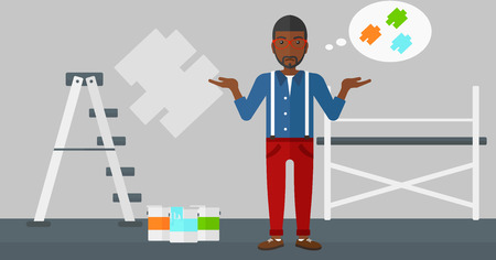 A doubtful african-american man with the beard choosing color for a room on a background of wall with paint samples vector flat design illustration. Horizontal layout. Illustration