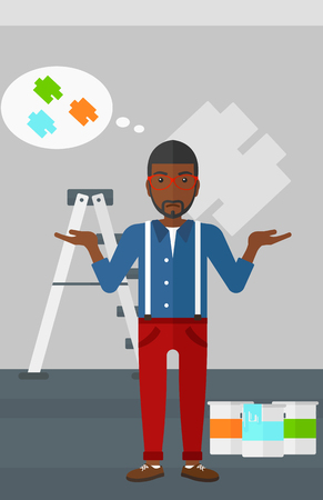 A doubtful african-american man choosing color for a room on a background of wall with paint samples vector flat design illustration. Vertical layout.
