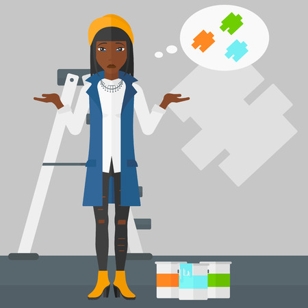 A doubtful african-american woman choosing color for a room on a background of wall with paint samples vector flat design illustration. Square layout.