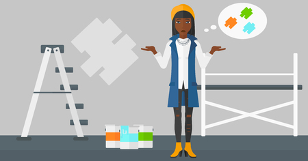 paint samples: A doubtful african-american  woman choosing color for a room on a background of wall with paint samples vector flat design illustration. Horizontal layout.