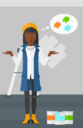 paint samples: A doubtful african-american woman choosing color for a room on a background of wall with paint samples vector flat design illustration. Vertical layout.