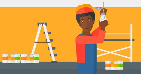 screwing: An african-american worker twisting a light bulb on a background of room with paint cans and ladder vector flat design illustration isolated on white background. Horizontal layout. Illustration