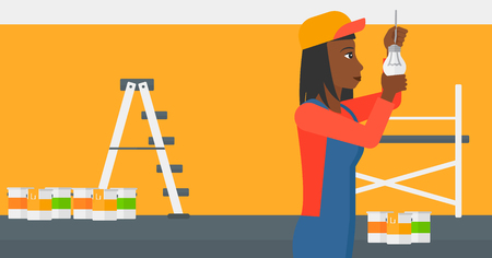 screwing: An african-american female worker twisting a light bulb on a background of room with paint cans and ladder vector flat design illustration isolated on white background. Horizontal layout.