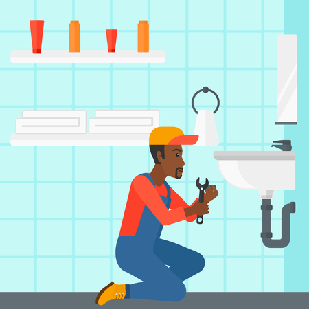 wash basin: An african-american man sitting in a bathroom and repairing a sink with a spanner vector flat design illustration. Square layout. Illustration