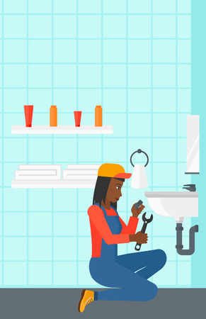 wash basin: An african-american woman sitting in a bathroom and repairing a sink with a spanner vector flat design illustration. Vertical layout. Illustration
