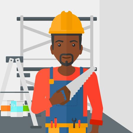 step ladder: An african-american worker holding a saw in hand on a background of walls and step ladder vector flat design illustration. Square layout.