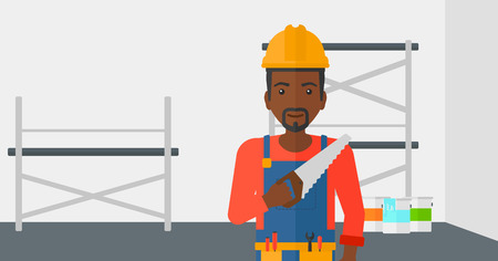 step ladder: An african-american  worker holding a saw in hand on a background of walls and step ladder vector flat design illustration. Horizontal layout.