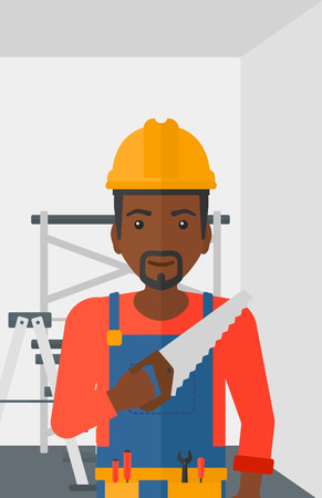 blade: An african-american worker holding a saw in hand on a background of walls and step ladder vector flat design illustration. Vertical layout.