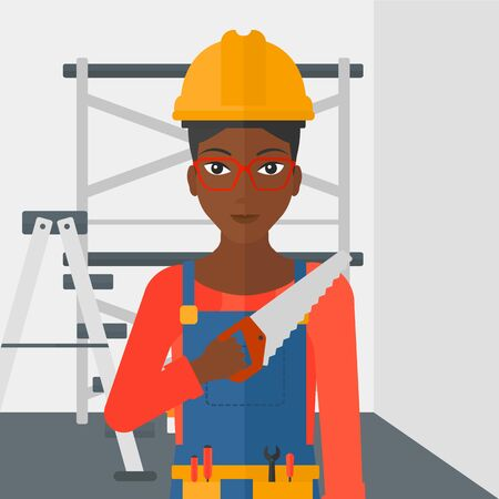 step ladder: An african-american female worker holding a saw in hand on a background of walls and step ladder vector flat design illustration. Square layout. Illustration