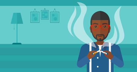 거실의 배경에 담배를 깨는 아프리카 계 미국인 남자 벡터 평면 디자인 일러스트 레이 션. 가로 레이아웃입니다.