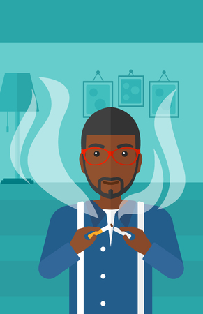 An african-american man breaking the cigarette on the background of living room vector flat design illustration. Vertical layout.