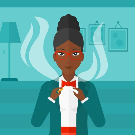 거실의 배경에 담배를 깨는 아프리카 계 미국인 여자 벡터 평면 디자인 일러스트 레이 션. 사각형 레이아웃. 일러스트