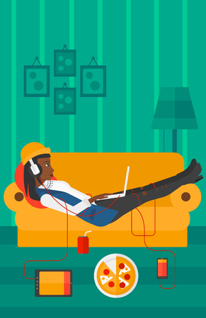 electronic devices: An african-american woman in headphones lying on a sofa in living room with electronic devices and fast food vector flat design illustration. Vertical layout.