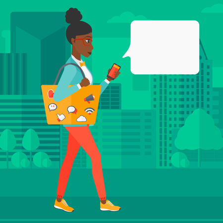 smart phone woman: An african-american woman walking with a smartphone and a bag full of social media icons on a city background vector flat design illustration. Square layout.