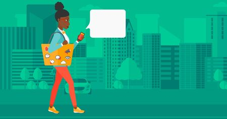 person walking: An african-american woman walking with a smartphone and a bag full of social media icons on a city background vector flat design illustration. Horizontal layout.