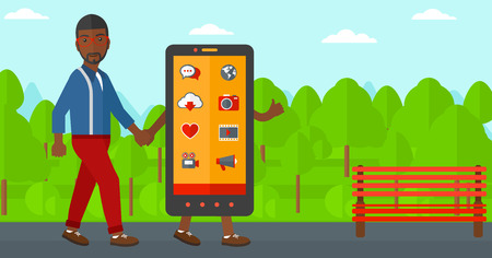 big cartoon: An african-american man walking with a big smartphone in the park vector flat design illustration. Horizontal layout.