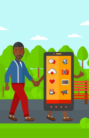 media gadget: An african-american man walking with a big smartphone in the park vector flat design illustration. Vertical layout.