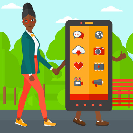 media gadget: An african-american woman walking with a big smartphone in the park vector flat design illustration. Square layout.