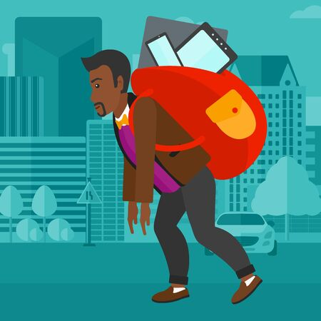 electronic device: An african-american man walking with a big backpack full of different devices on a city background vector flat design illustration. Square layout.