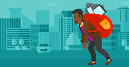 cary: An african-american man walking with a big backpack full of different devices on a city background vector flat design illustration. Horizontal layout. Illustration