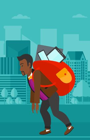 cary: An african-american man walking with a big backpack full of different devices on a city background vector flat design illustration. Vertical layout.