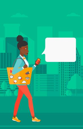An african-american woman walking with a smartphone and a bag full of social media icons on a city background vector flat design illustration. Vertical layout.