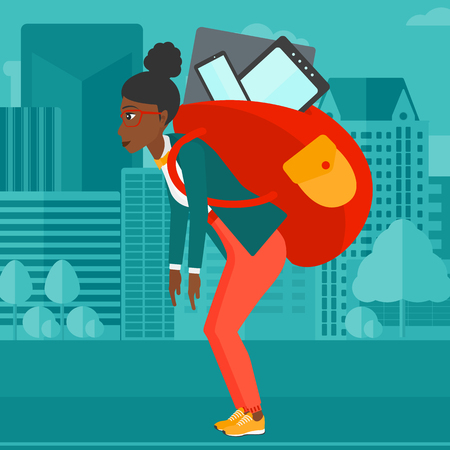 cary: An african-american woman walking with a big backpack full of different devices on a city background vector flat design illustration. Square layout. Illustration