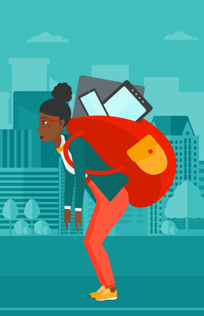cary: An african-american woman walking with a big backpack full of different devices on a city background vector flat design illustration. Vertical layout.